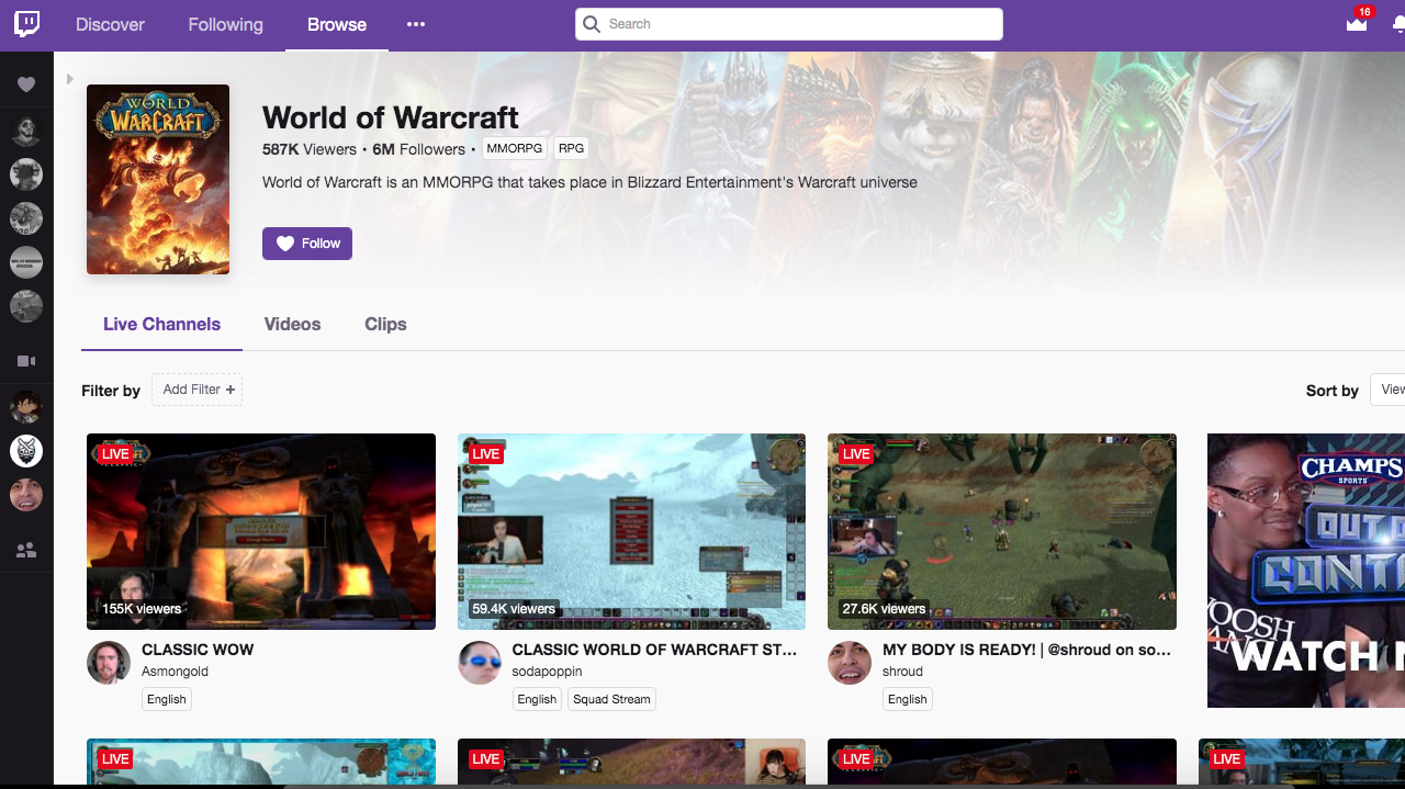 WoW Pulling Almost 600K Viewers on Twitch Right Now